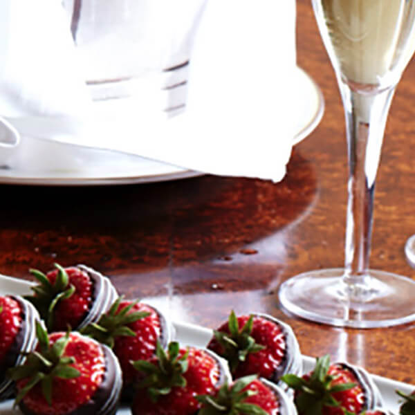 Sparkling Beverage and Chocolate Covered Strawberries